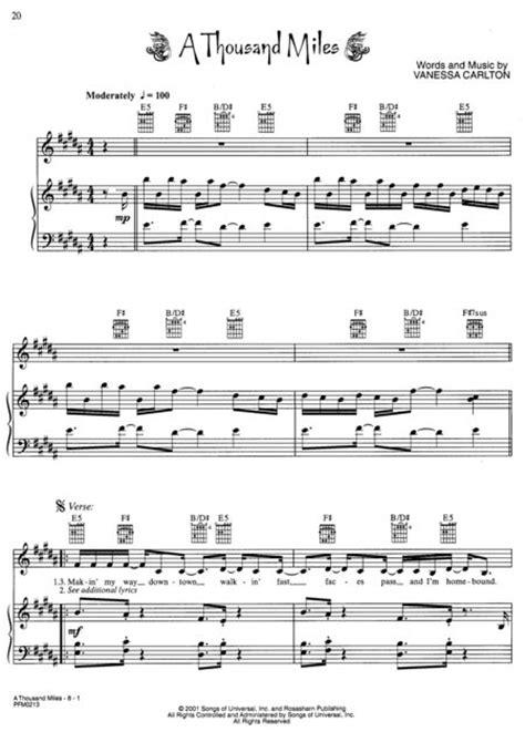 white houses piano sheet music vanessa carlton be not nobody