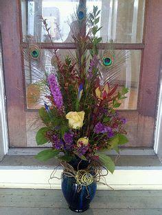silk flower arrangement peacock feathers in home decor and artificial flower arrangement peacock feathers mirror vase