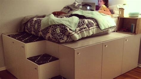 hack storage movie man transforms ikea kitchen cabinets into bed with space