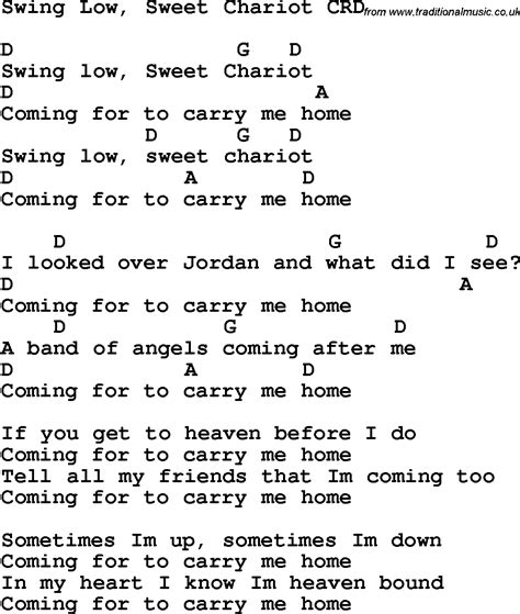 swing lyrics swing low sweet chariot