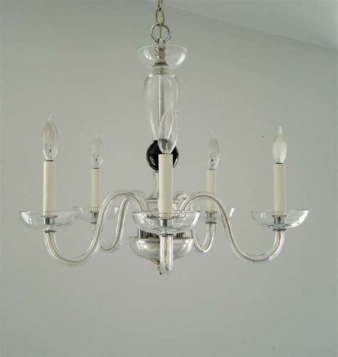Venetian Glass Chandelier Venetian Murano Clear Glass Chandelier With Five Arms At