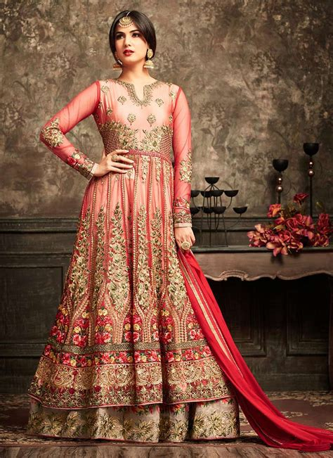 sonal chauhan designer suits sonal chauhan red anarkali suit 5105