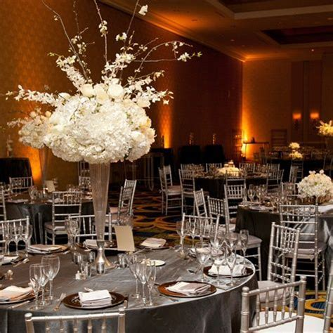 40 best Black, silver, white wedding reception images on