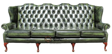 queen anne leather sofa chesterfield 4 seater queen anne high back wing sofa
