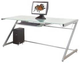 Modern Glass Top Desk Eurostyle Z Deluxe Large Desk In Aluminum Frosted Glass Top Modern Desks And Hutches By