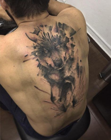 wolf back tattoo 17 best ideas about watercolor wolf on