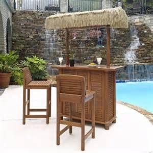 Home styles bali hai outdoor patio tiki bar and 2 stools 5662 998