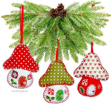 patterns christmas decorations sew felt toadstool house christmas tree decoration ornament