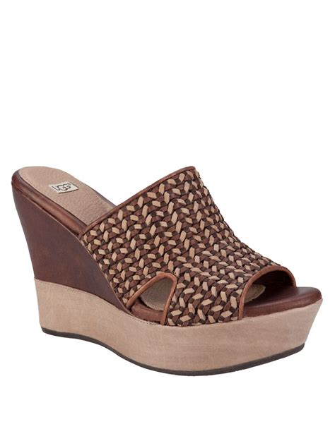 ugg wedge sandals ugg doha woven leather wedge sandals in brown lyst