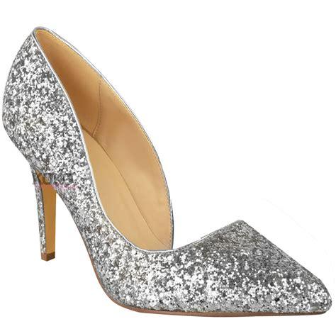 new womens mid high heel glitter sparkly