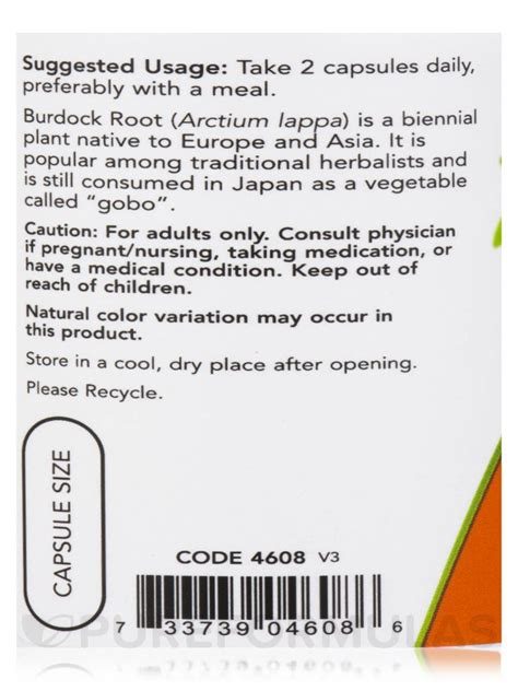 How Now Root Dreams Iv by Burdock Root 430 Mg 100 Capsules