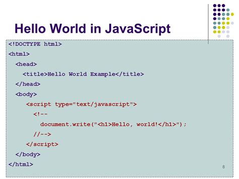 Javascript Tutorial Hello World | introduction to javascript ppt video online download