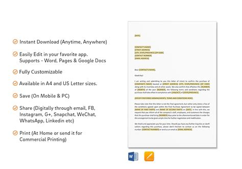 letter intent template word google docs apple pages
