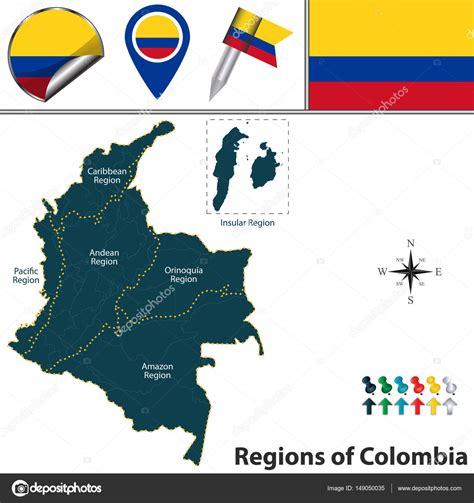 imagenes regiones naturales de colombia mapa de colombia con regiones naturales vector de stock