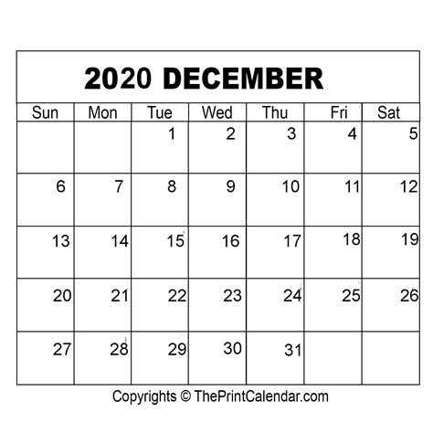 december  printable calendar template  word excel