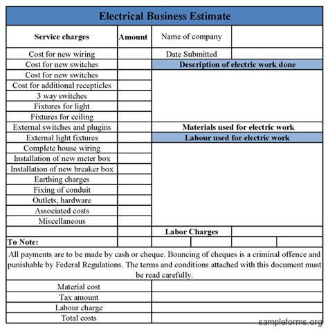 best photos of electrician estimate template electrical
