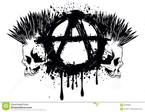 symbol anarchy and two skulls stock vector illustration