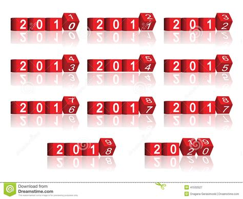 cube passing years   stock illustration illustration