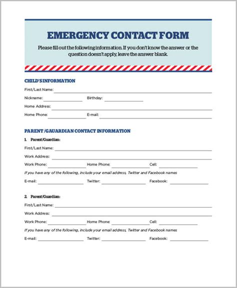 emergency information form template sle emergency release form