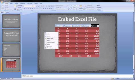 how to create a template for powerpoint powerpoint embed excel spreadsheet into slides