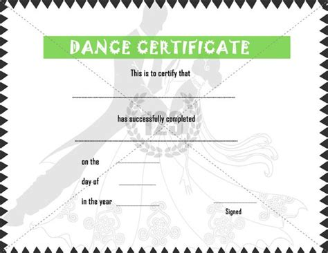elegant dance certificate template free 123certificate