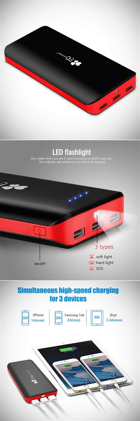 ec technology power bank ec technology s 22400mah power bank can charge 3 devices