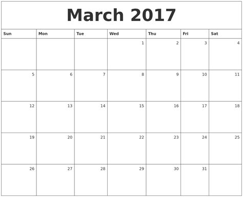 Printable Monthly Calendar March | march calendars