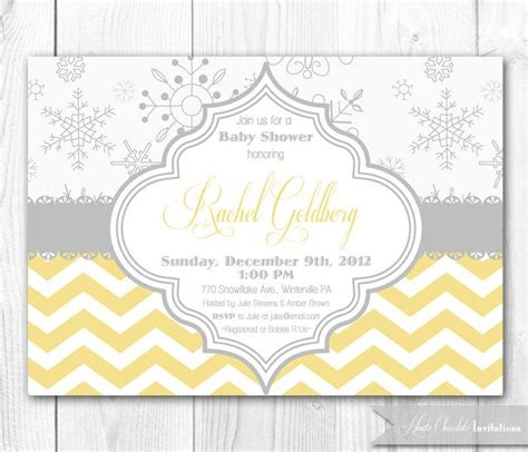 Snowflake Baby Shower Invitation In Yellow Gray Diy Printable Winter Bridal Shower Baby Yellow And Gray Baby Shower Invitation Templates