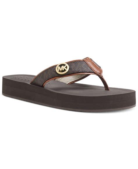 michael kor slippers lyst michael kors michael gage platform flip flops in brown