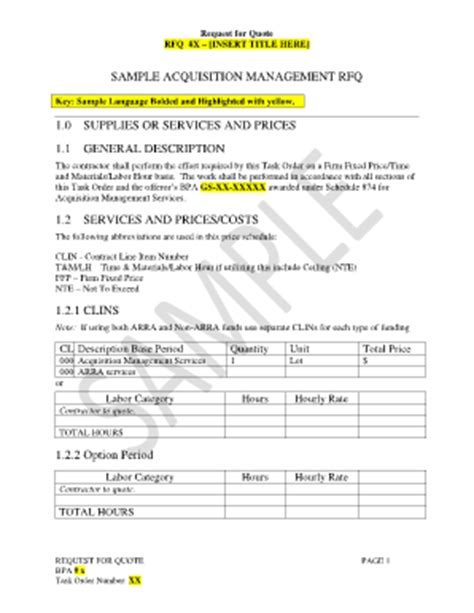 rfq template request for quote sle fill printable