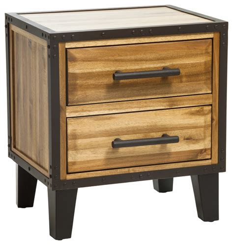 nightstands bedside tables glendora stain acacia wood 2 drawer nightstand