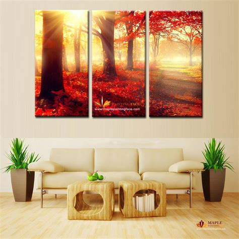 cheap paintings for bedroom 2017 canvas wall art red trees wall picture modern home