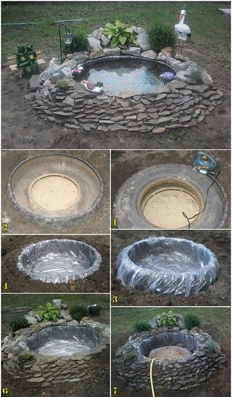 decorative pond   tires diy pond