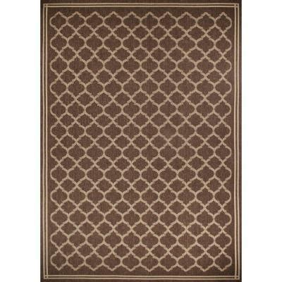 Hton Bay Dark Brown And Ivory Geo 7 Ft 7 In X 10 Ft Hton Bay Indoor Outdoor Rugs