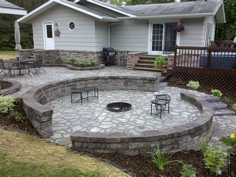 Flagstone Patio With Firepit Flagstone Pit Patio Fireplace Design Ideas