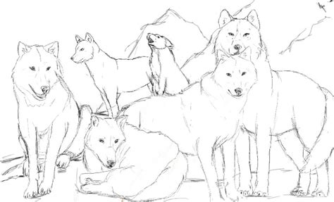 wolf pack line art usable by darckywolf on deviantart
