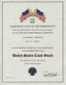 navy retirement certificate template retirement certificate us coast guard