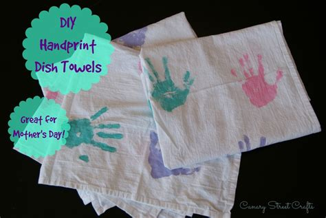 kitchen towel craft ideas diy handprint dish towels canary street crafts