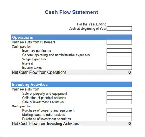 cash flow statement   samples examples format