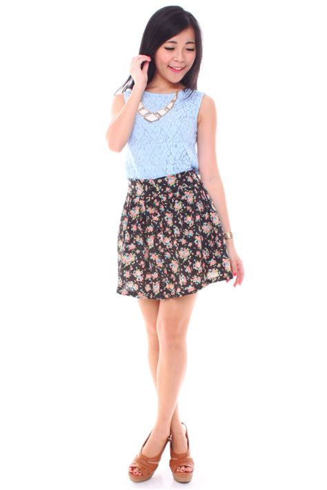 floral high waist skirt the label junkie