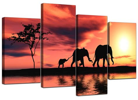 canvas prints canvas prints of african elephant in orange for your living room