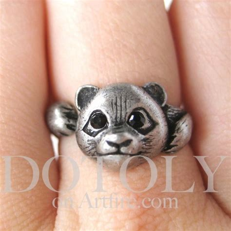 miniature panda animal wrap ring in silver sizes 5
