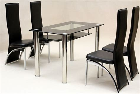 Rectangle Dining Table And Chairs Rectangle Glass Top Table With Silver Steel Legs Combined With Black Leather Chairs Plus High
