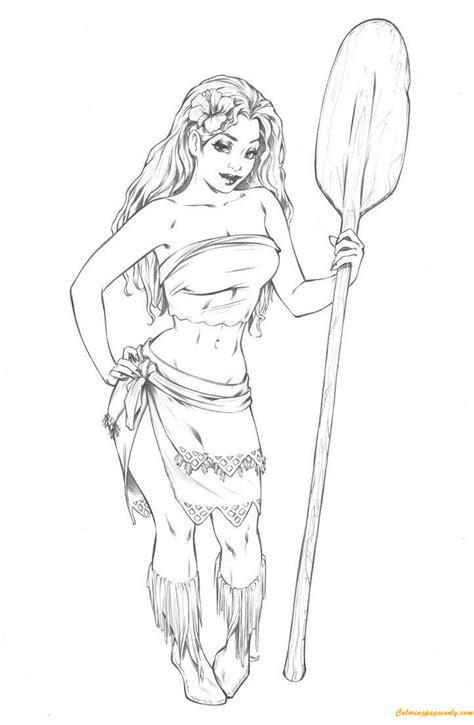 moana disney princess adult fan art coloring page