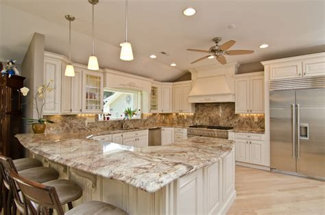 Kitchen Tile Backsplash Ideas With White Cabinets by Typhoon Bordeaux Granite With Full Backsplash