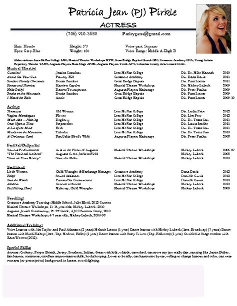 acting resume jean pj pirkle