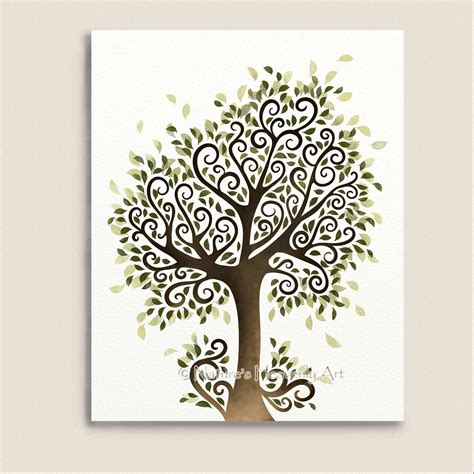 free printable tree wall art whimsical tree art print nature wall decor fantasy