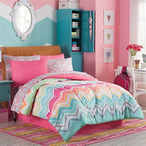 girls bedding sets twin marielle 8 pc full comforter shams sheets chevron multi color rainbow new comforter