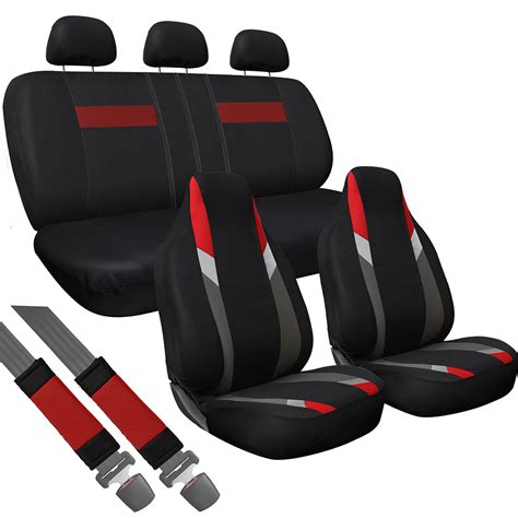 back seat bench cover 10pc set red gray black integrated matching bench truck high back seat covers ebay