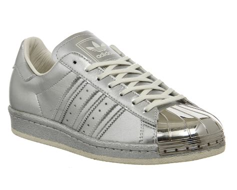 mens adidas superstar 80s metallic pack silver trainers shoes